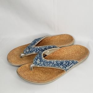 Spenco Thong Orthotic Sandals Blue Floral 8W